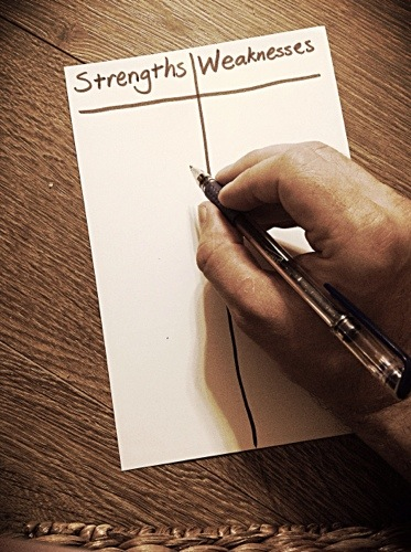 making a list of strengths and weakness